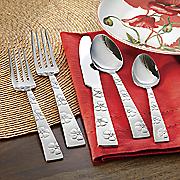20 pc  hibiscus flatware set by gourmet basics