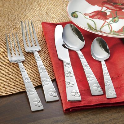 20-Piece Hibiscus Flatware Set by Gourmet Basics