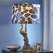 Peacock Table Lamp with Blue Gems