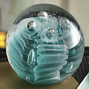 obsidian teal glow paperweight