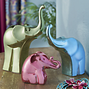3 pc  bright metallic elephant figurine set
