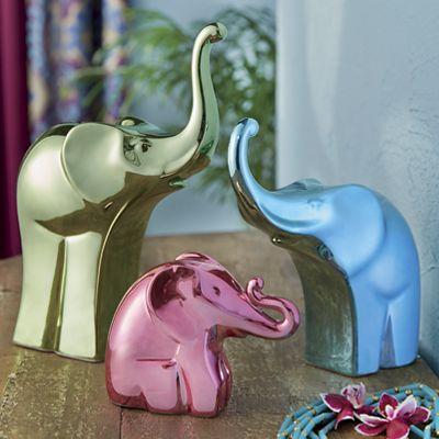 3-Piece Bright Metallic Elephant Figurine Set