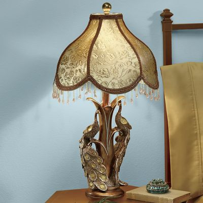 Goldtone Peacock Table Lamp