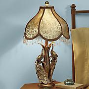 goldtone peacock table lamp