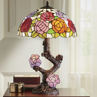 Double-Lit Stained Glass Lamp with Roses