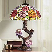 double lit stained glass lamp with roses