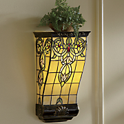 stained glass led wall sconce shelf