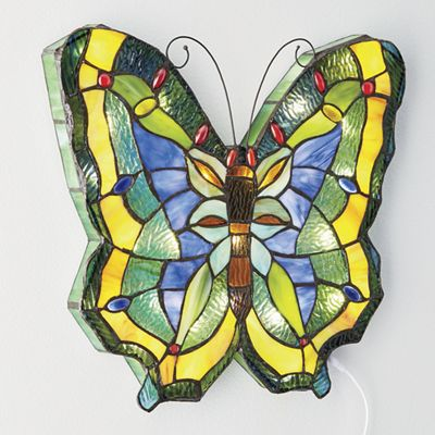 Stained Glass Butterfly LED Wall Panel