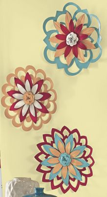3-Piece Colorful Wall Flower Set