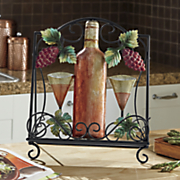 metal wine and grape book holder