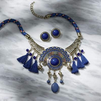 Blue Aztec Necklace and Earring Set