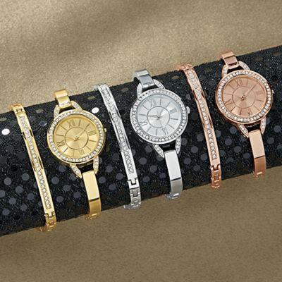 Crystal Semi-Bangle Watch and Bracelet Set