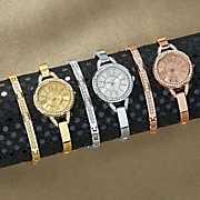 crystal semi bangle watch and bracelet set