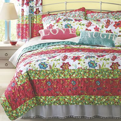 Bright Garden Quilt, Sham, Pillow and Panel Pair