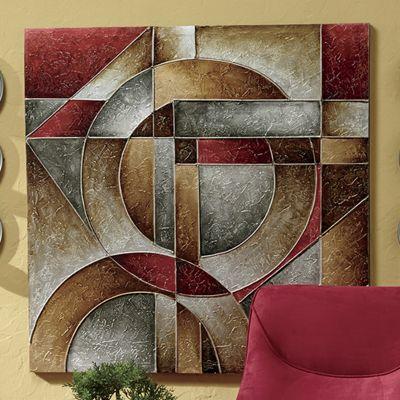 Hand-Painted Metallic Geometric Canvas