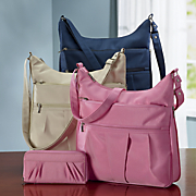 microfiber crinkle shoulder bag with rfid wallet