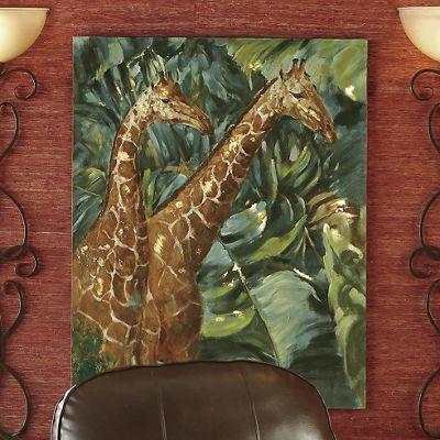 Gentle Giraffes Oil Painting