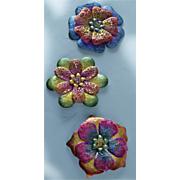 3 pc  metal wall flowers set