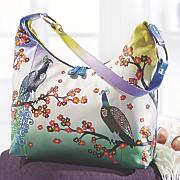 hand painted leather bird handbag