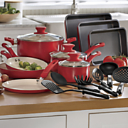 18 pc  aluminum ceramic cookware set by seventh avenue