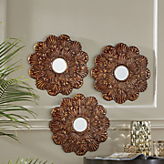 3 pc  bronze flower mirror set