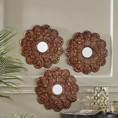 3-Piece Bronze Flower Mirror Set