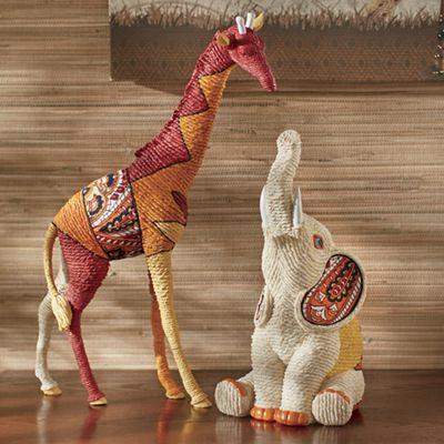 Giraffe and Elephant Figurines
