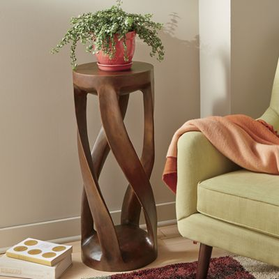 Twisted Hand-Carved Plant Stand