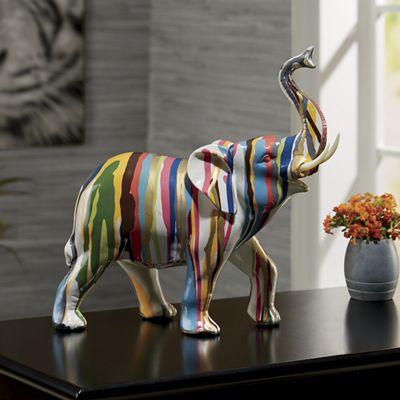 Color Dripped Elephant Figurine