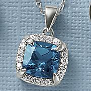 london blue topaz cushion pendant