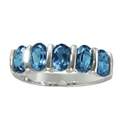 london blue topaz 5 stone ring