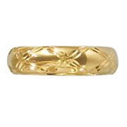 14k gold nano 6mm criss cross band