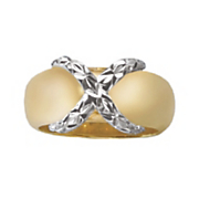 14k gold nano two tone x ring