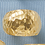 14k gold nano hammered dome ring