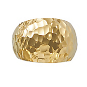 14k gold nano hammered dome ring