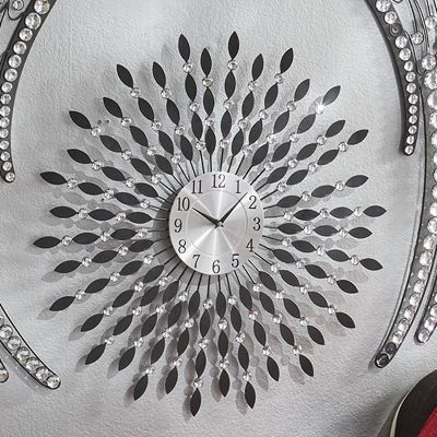 Black and Crystal Metal Wall Clock