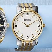 men s two tone bracelet watch with diamond accents by bulova