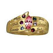 10k gold marquise family birthstone ring