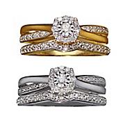 diamond 10k gold cushion bridal set