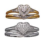 diamond 10k gold heart bridal set