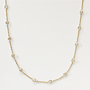 gold over sterling silver cubic zirconia station necklaces