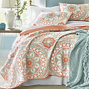 serenity coral quilt and sham