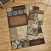 3 pc  blue patches rug set