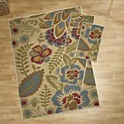 3 pc  crewel floral rug set