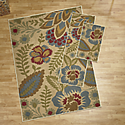 3 pc  crewel floral rug set