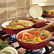 set of 3 enameled cast iron skillets