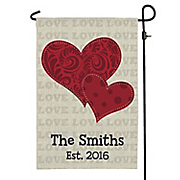 Red Hearts Personalized Garden Flag