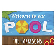 welcome to our pool personalized welcome mat