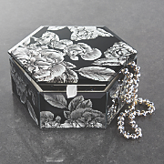 black floral hexagon jewelry box