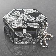black floral hexagon jewelry box